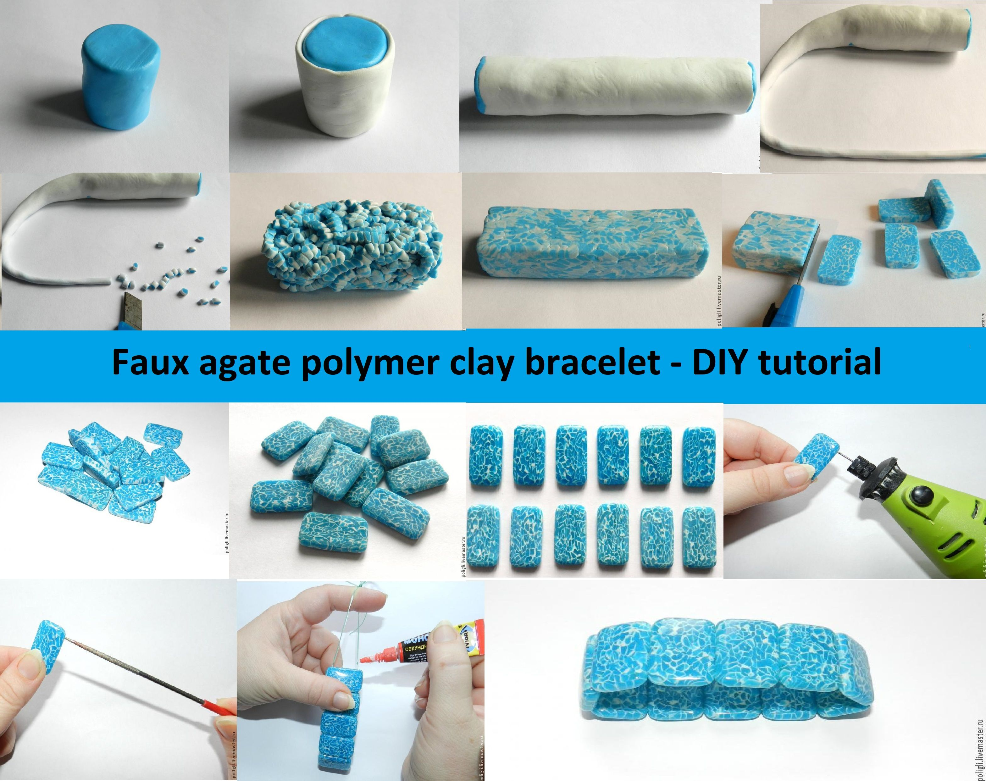 Faux agate polymer clay bracelet – DIY tutorial | || be creative ...