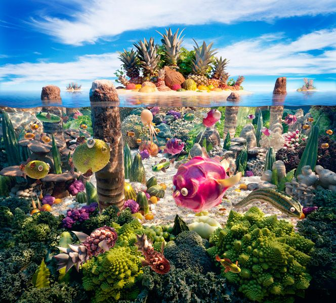 Coralscape created out of different Asian fruit and vegetable ingredients.
