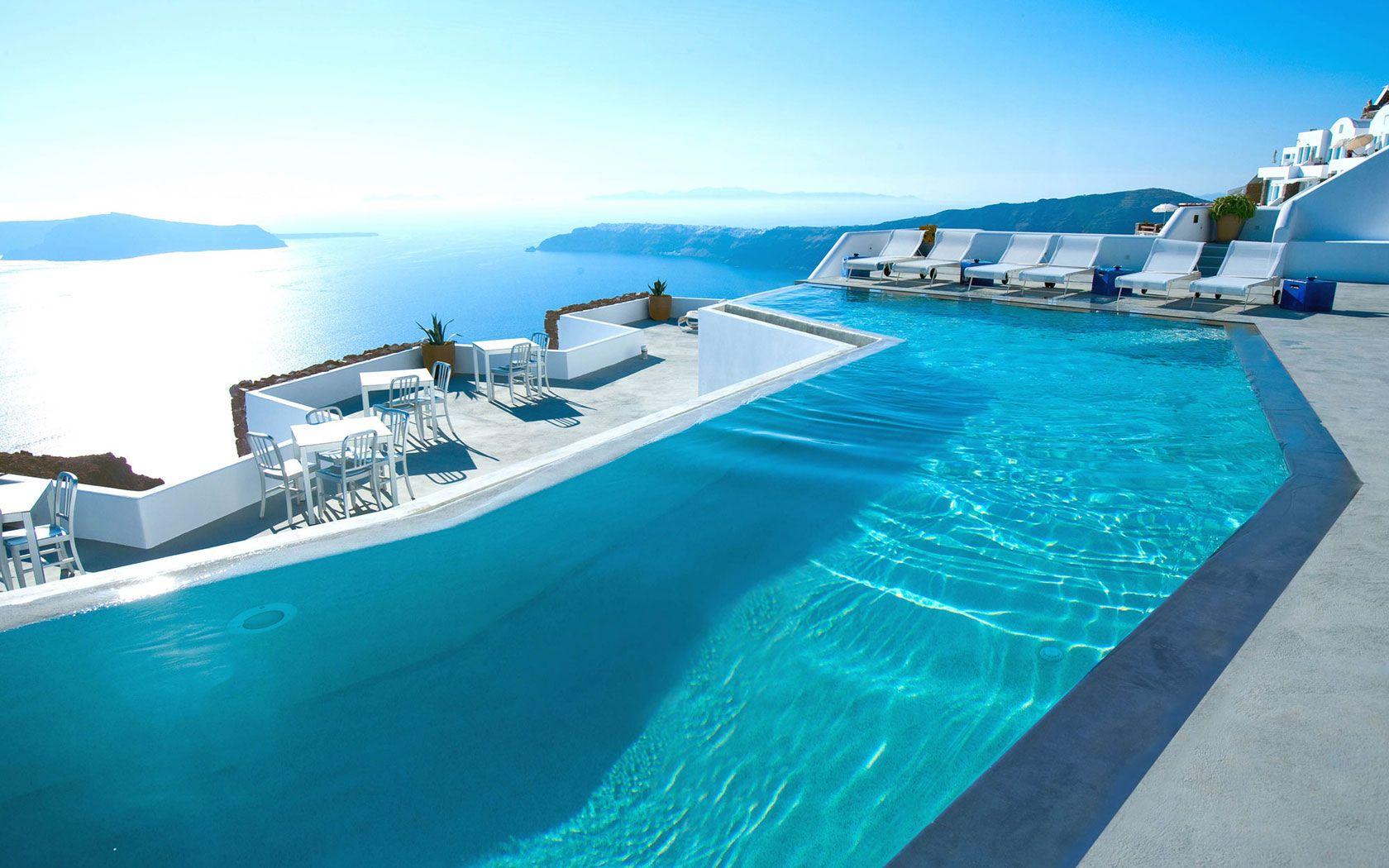 Santorini Pool Hd Background Wallpaper Amazing Swimming Pools Santorini Hotels Beautiful Pools Amazing swimming pool wallpaper