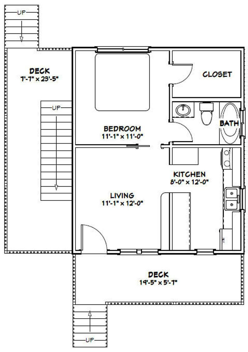 20x24 Duplex 960 Sq Ft Pdf Floor Plan Instant Download Model 1a In 2020 Floor Plans Duplex Floor Plans House Plans