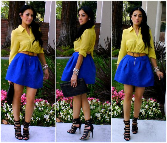 Romwe Embroidered Blue Skater Skirt, Tobi Neon Blouse, Shoedazzle Strappy Heels, Charlotte Russe Belt, Forever 21 Clutch
