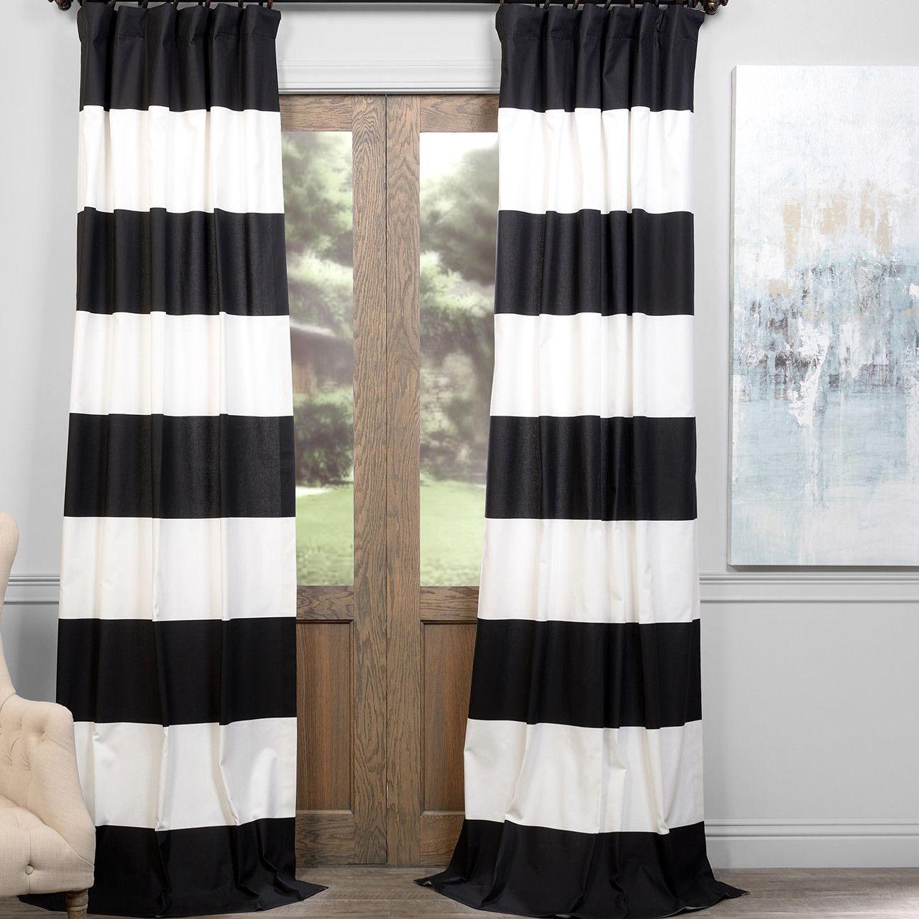 Wilkesville 100 Cotton Striped Room Darkening Thermal Rod Pocket