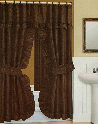 Double Swag Shower Curtain Liner Rings Brown Visit The Image Link More De Double Swag Shower Curtain Brown Shower Curtain Fabric Shower Curtains