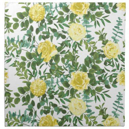 Light Yellow Pastel Peony & Rose Floral Wedding Cloth Napkin | Zazzle.com #clothnapkins