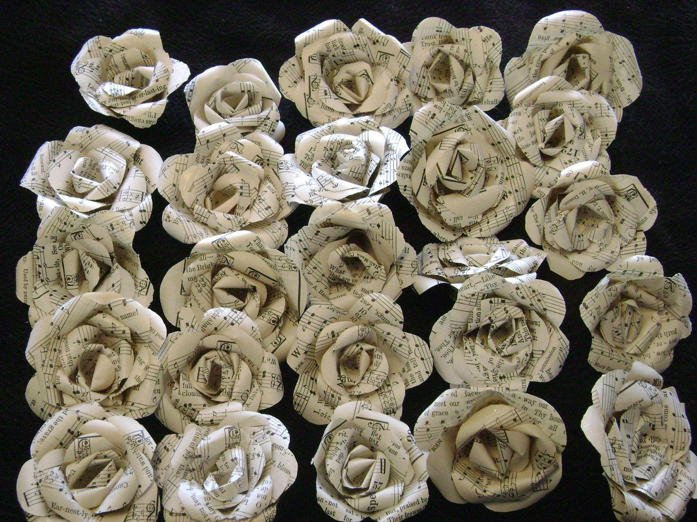 Vintage hymnal or sheet music paper flowers set bulk lot of 25 vintage hymnal book music paper flowers set bulk lot of 25 wedding decorations mightylinksfo