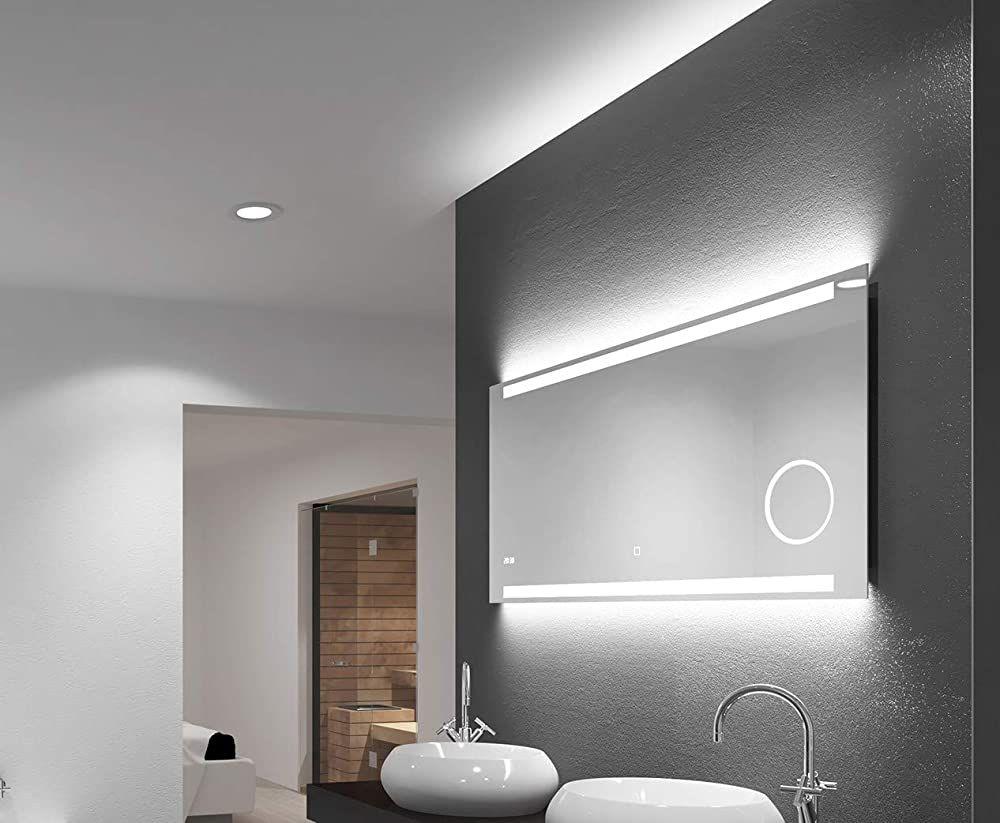 Led Badspiegel Talos King120 X 60 Cm Lichtfarbe 4200k Beleuchteter Kosmetikspiegel Digitaluhr Badezimmer Mobel Badezimmerspiegel Beleuchteter Kosmetikspiegel