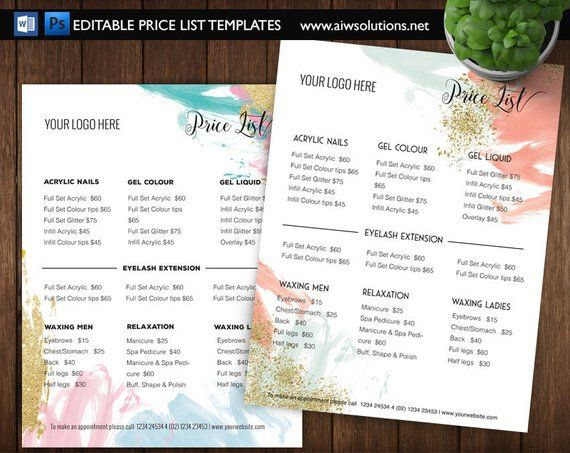 Edit Able Price Guide Pricing List Template Specials Menu