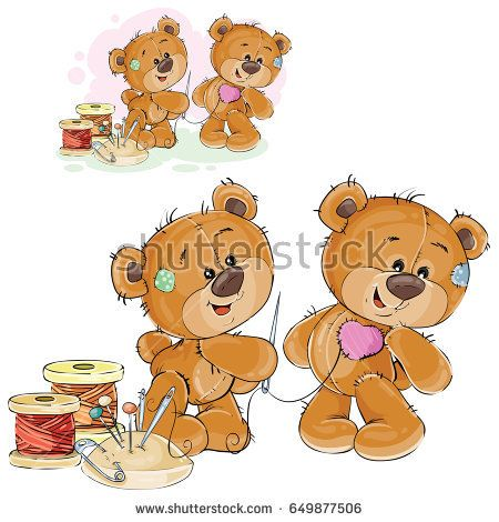 Vector Illustration Of A Brown Teddy Bear Tailor Holding In His Paw Needle And Thread And Sewing Another Teddy Bear Ilustracao De Urso Arte Com Urso Teddy Bear