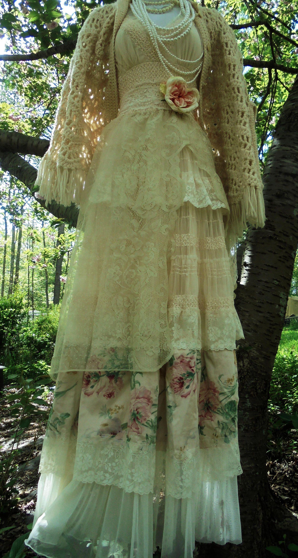 Cream floral dress wedding tulle lace romantic boho outdoor bride ...