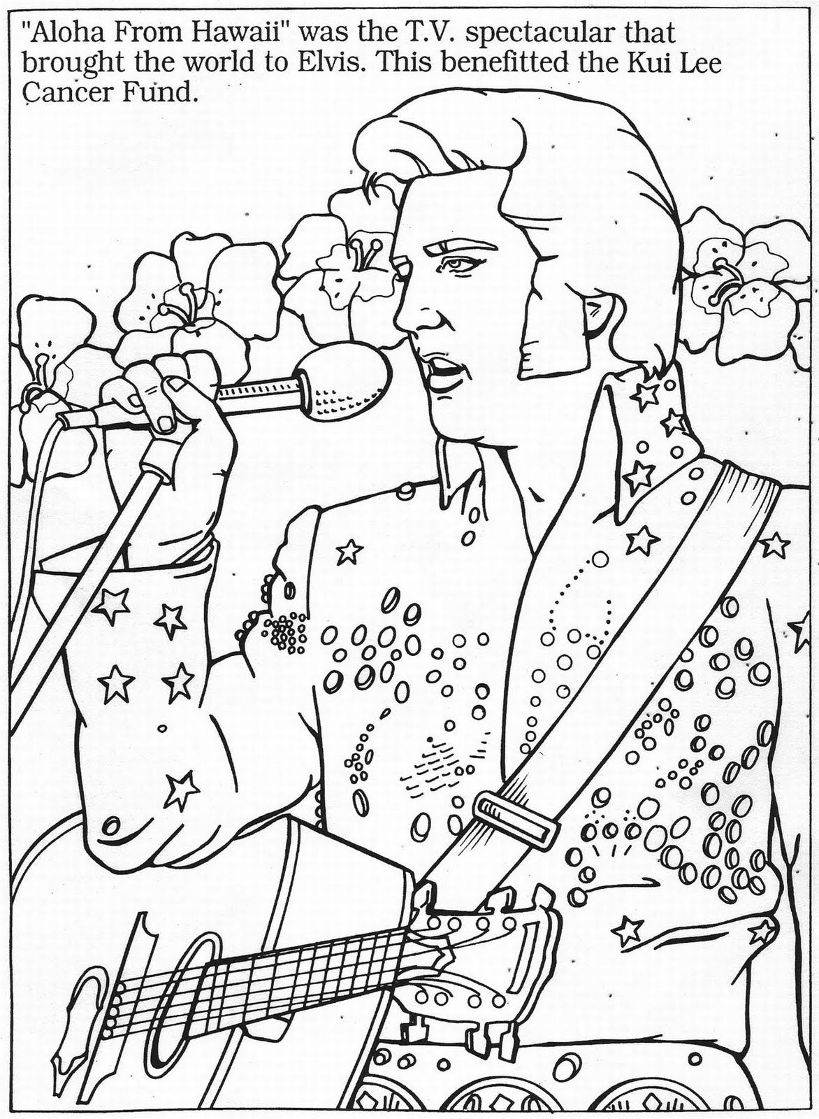 Elvis colouring page. \