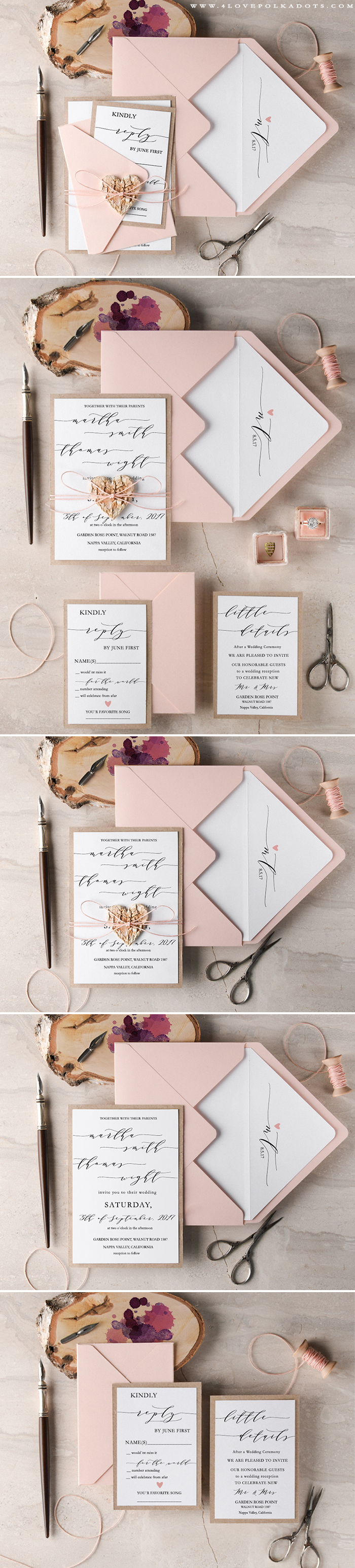 Wedding Invitations - Calligraphy writing, real birch bark heart tag ...
