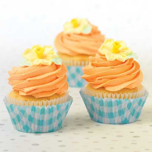 Cupcakes made with Gingham Blue Cupcake Wrappers $2.50 and Daffodil Icings $10.00 http://www.fancyflours.com/product/Gingham-Cupcake-Wrappers-Set/s http://www.fancyflours.com/product/Medium-Icing-Daffodils/s