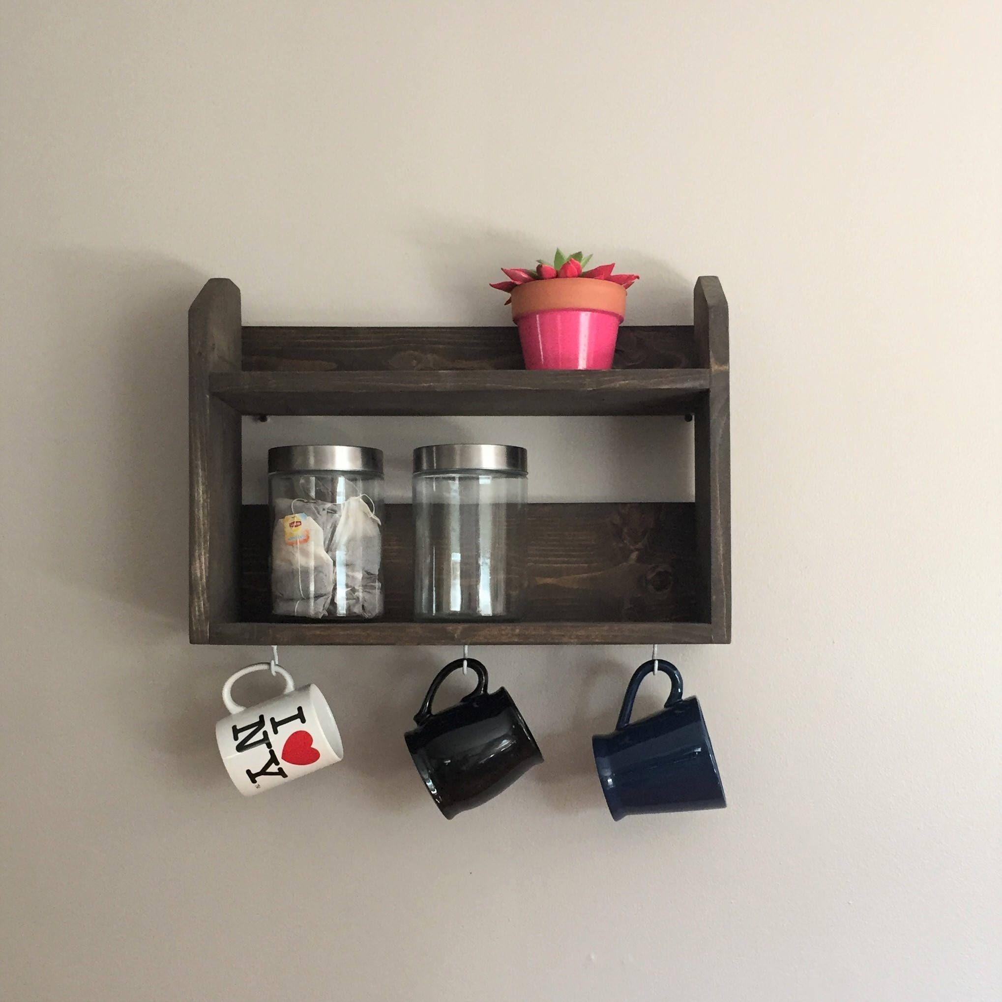 Coffee Bar Coffee Shelf Tea Shelf Mug Holder Mug Hooks Home Decor Kitchen Wood Shelf Coffee Mug Gift Ide Shelves Wall Bar Shelf Hanging Shelf Brackets