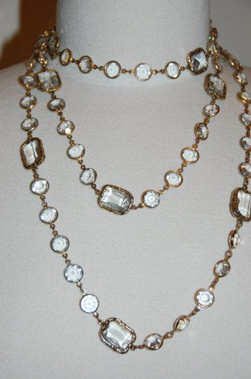 Vintage Chanel Rare Crystal Chicklet Necklace Sautoir