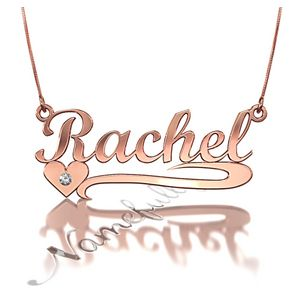 Name Necklace With Heart And Diamonds In Sterling Silver Name Necklace Necklace Gold Plated Necklace