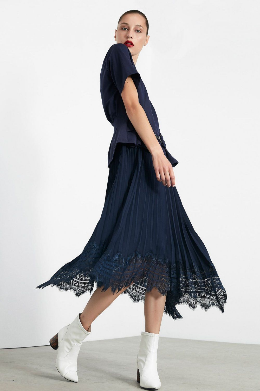 Ipekyol Lacivert Cift Parca Pilise Etekli Midi Elbise Elbisebul Midi Elbise The Dress Elbise