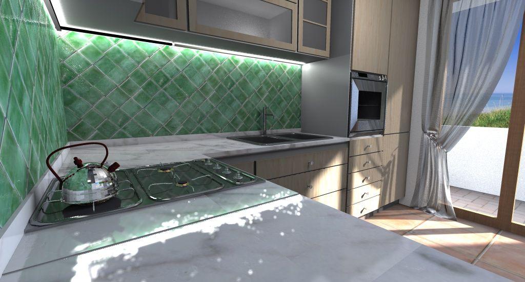 Cucina legno chiaro marmo e piastrelle in cerasarda verdi