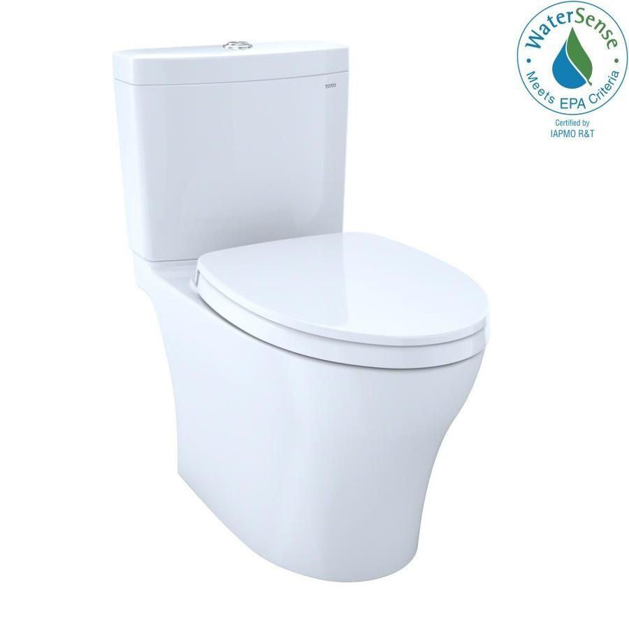 Toto Aquia Iv Cotton White Watersense Dual Flush Elongated Chair Height 2 Piece Vitreous China Toilet 12 In Rough In Size With Slow Close Lowes Com Water Sense Washlet Two Piece Toilets