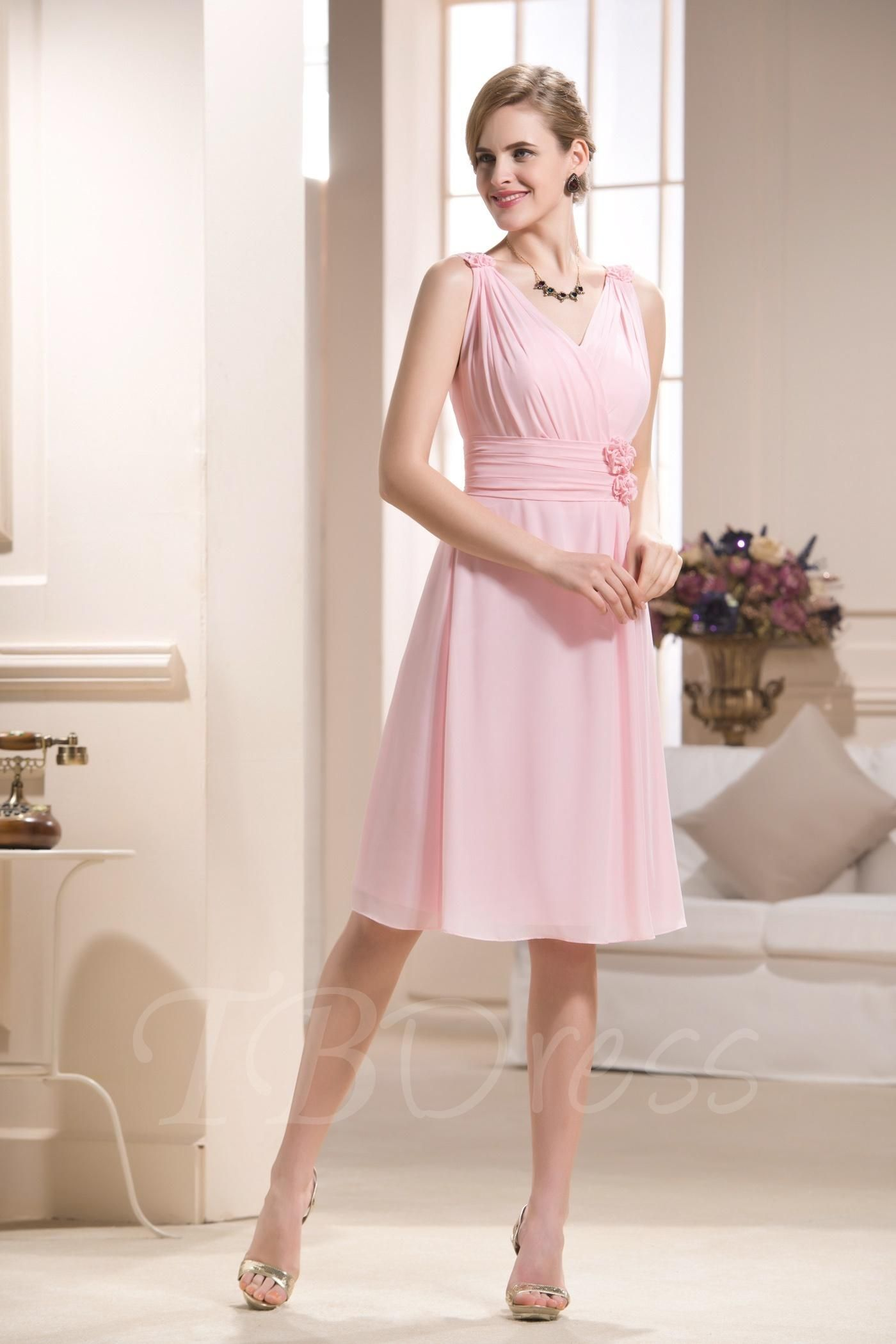 Tbdress tbdress pleats vneck kneelength bridesmaid dress
