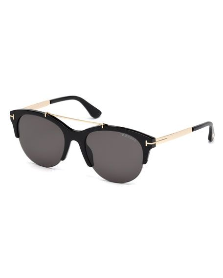 0bad161653 TOM FORD Adrenne Monochromatic Semi-Rimless Brow-Bar Sunglasses ...