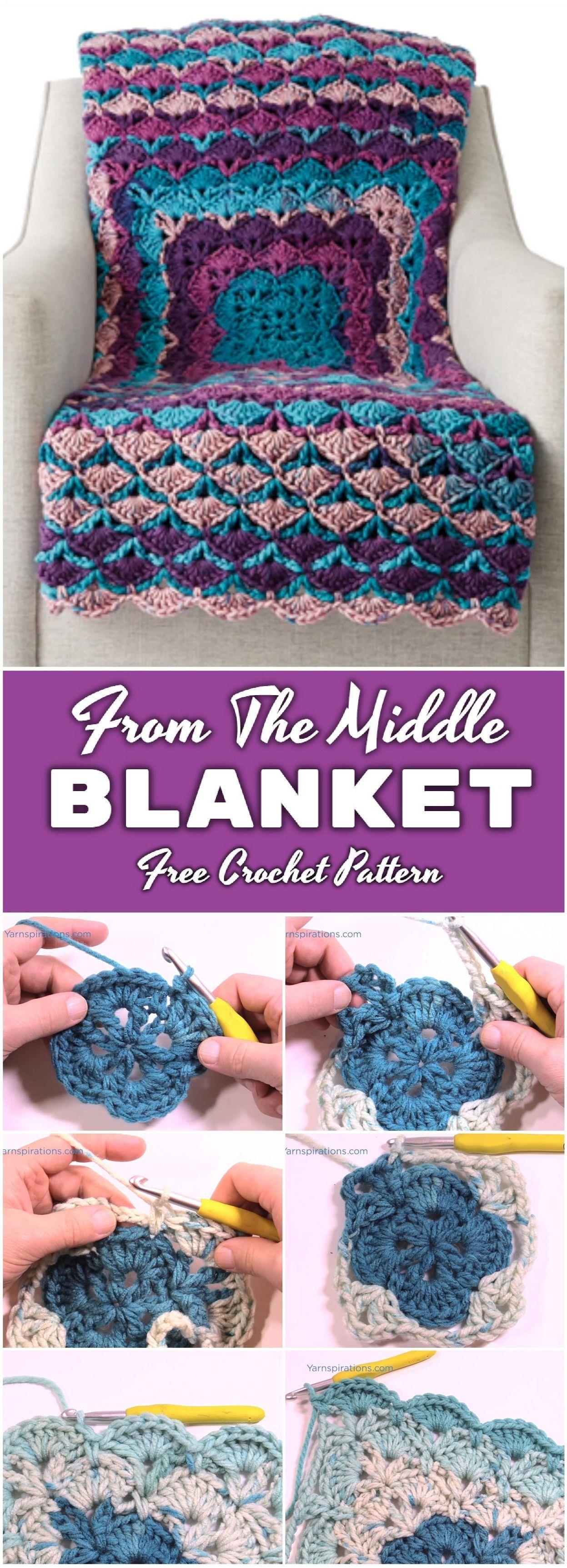 Crochet From The Middle Blanket - Free Pattern | Decken, Häkeln und ...