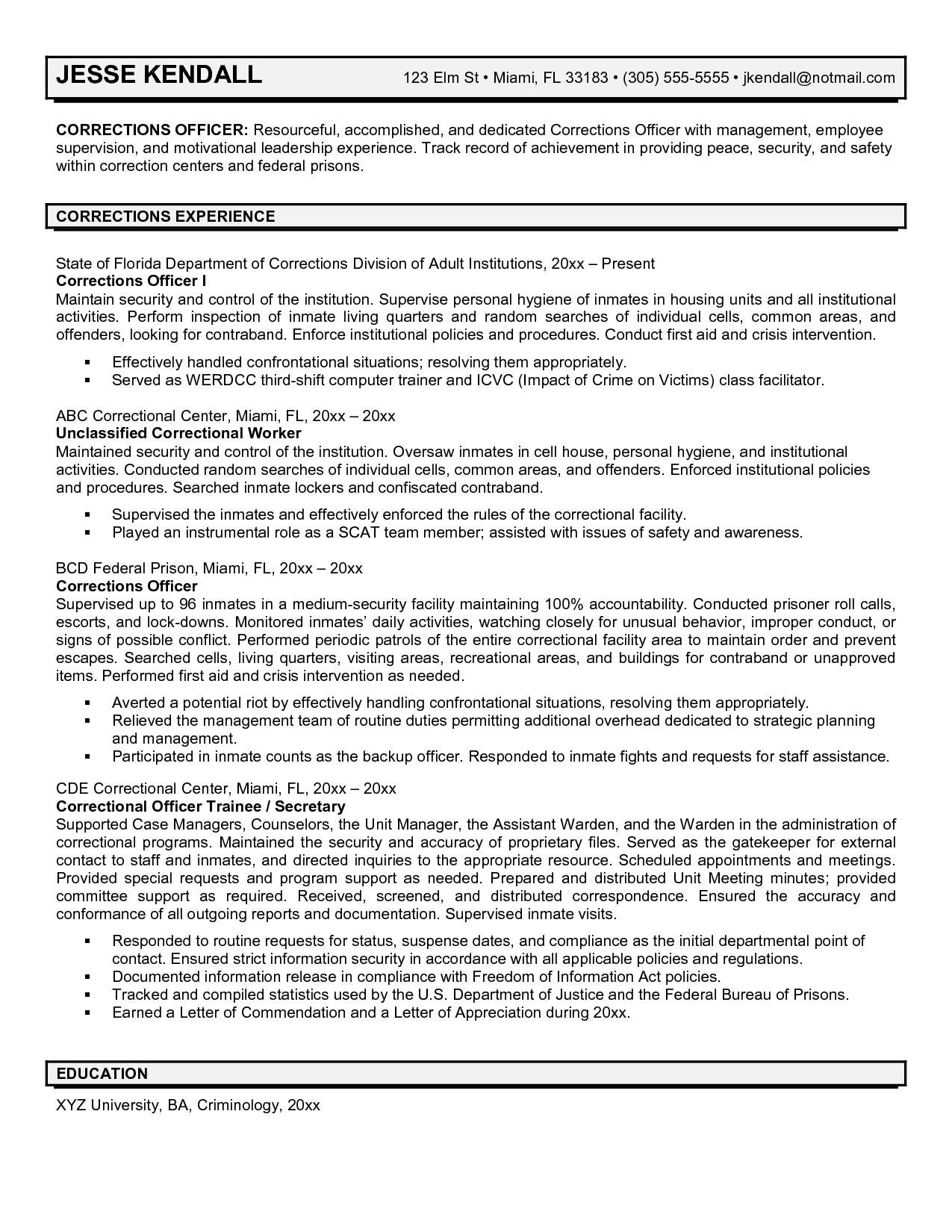Correctional Officer Resume Samples Http Www Jobresume Website