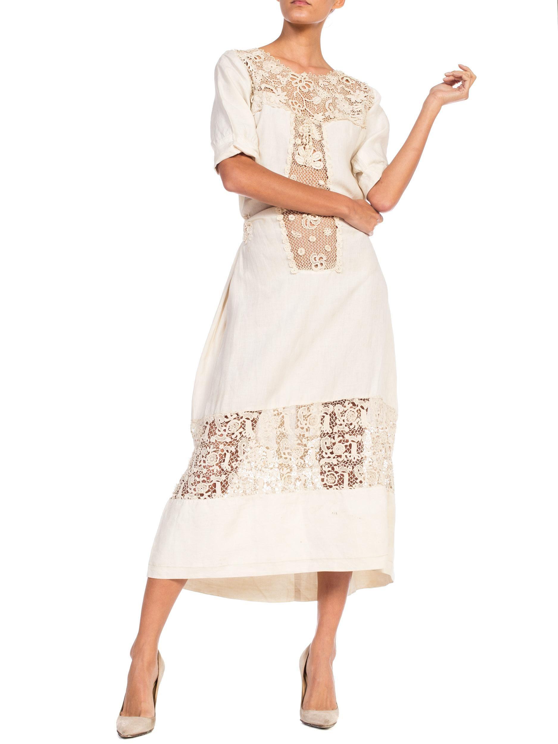 Edwardian Organic Linen Dress With Irish Crochet Lace