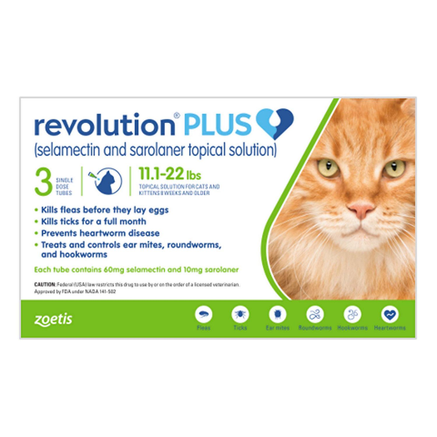 Revolution Plus Topical Solution 11 1 22lbs Cat Pack Of 3 3 Ct In 2020 Cat Medication Fleas Cat Medicine