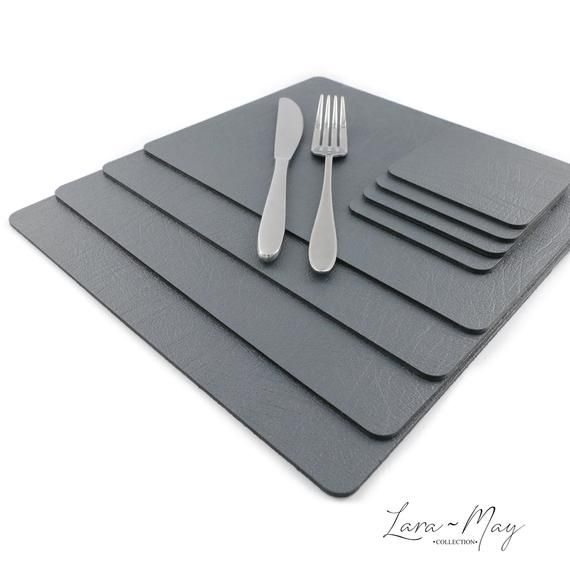 Placemats Set Of 4 Recycled Leather Slate Grey Place Mats Etsy In 2020 Grey Placemats Leather Coasters Recycled Leather