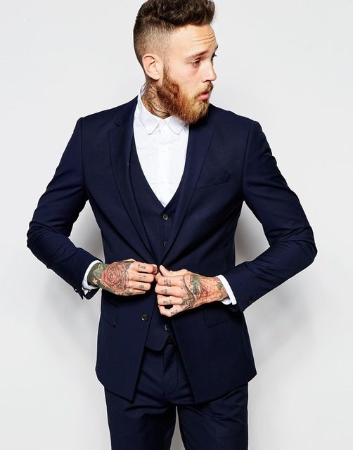 Click to Buy << Fashionable Mens Dinner Party Prom Suits Navy Blue ...