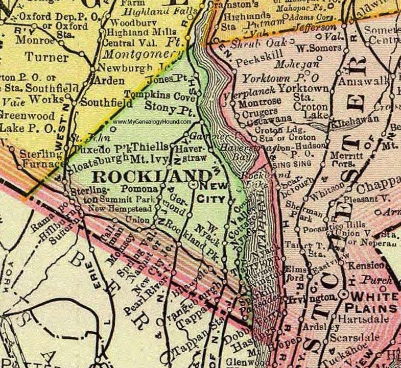 Rockland County, New York, 1897, Map, Rand McNally, New City