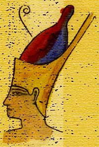 This is a Pschent Crown that was used by pharaohs, and it symbolized the power and ruling that pharaohs had over the upper and lower parts of Egypt.