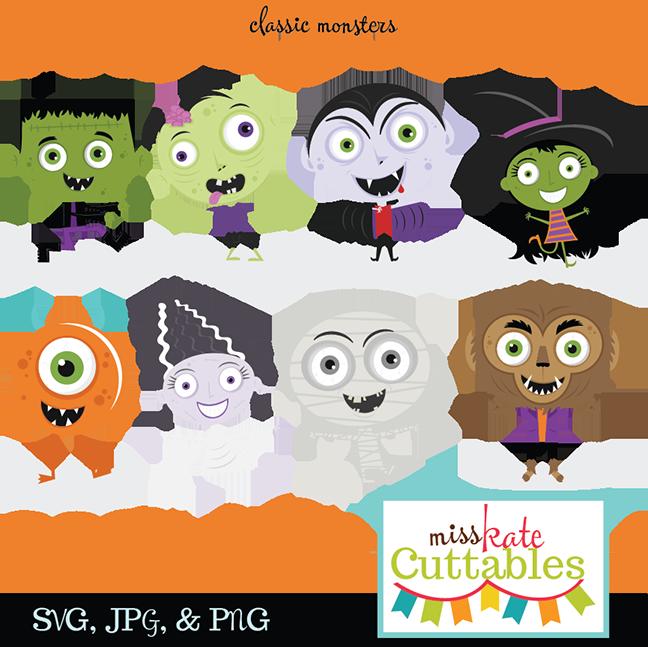 Classic Monster SVG bundle monster svg cut files cute halloween ...