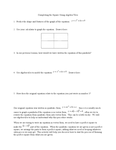 Completing The Square Using Algebra Tiles Worksheet Lesson Planet
