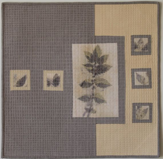 Modern Art Quilt Quilted Wall Hanging Plant Dyed Quilt by JSsewing