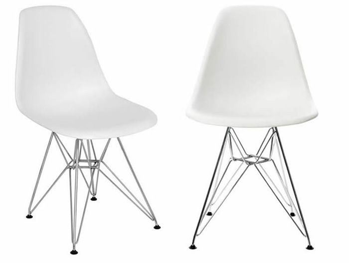 Eames DSR White Plastic Chair Eiffel Metal Legs Living Room