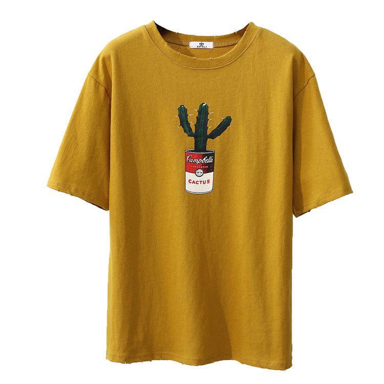 2017 envío libre señoras del verano nueva ronda cuello redondo suelta patrón de cactus de manga corta en Camisetas de Ropa y Accesorios de las mujeres en AliExpress.com | Alibaba Group