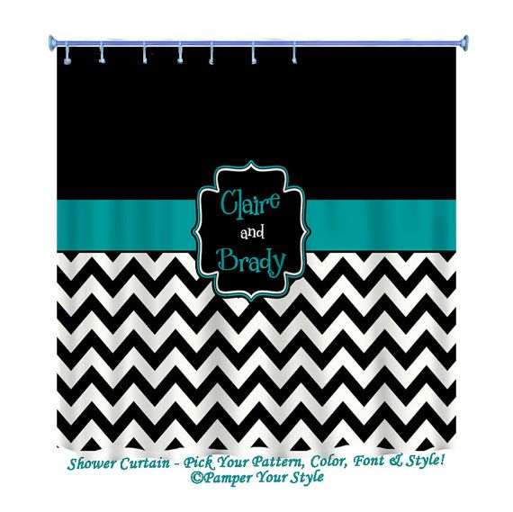 Hey I Found This Really Awesome Etsy Listing At 163116426 Black And Turquoise Chevron Shower