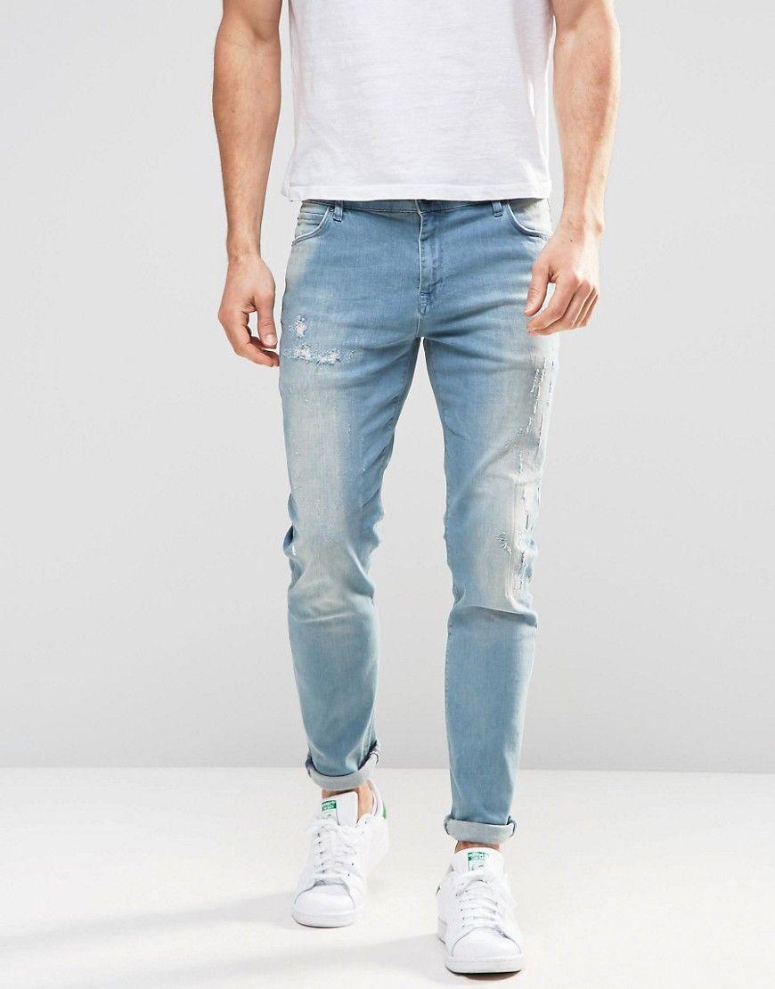 Slim Jeans With Abrasions In Light Wash - Light vintage blue Asos a0t5c07mi
