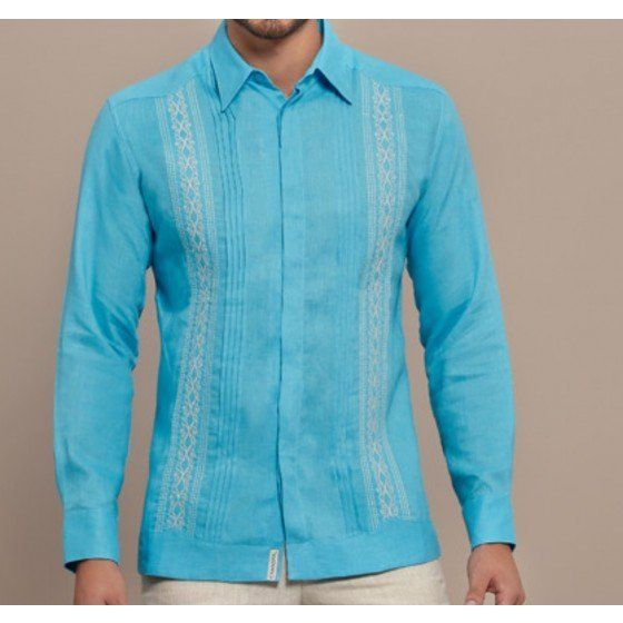 Children Fashion Girl In Tropical Turquoise Beach: Bright Color Guayabera Shirt.Turquoise. Grooms