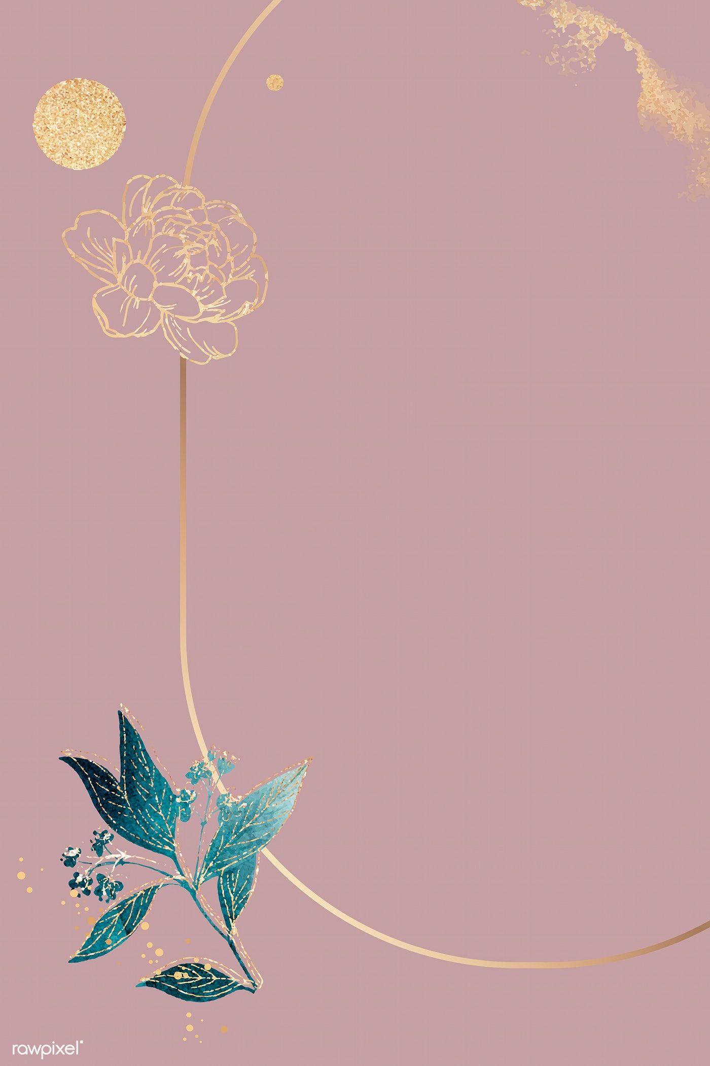 Download Premium Vector Of Blank Pink Oval Floral Card Vector 1211902 Blank Pink Floral Border Design Floral Cards