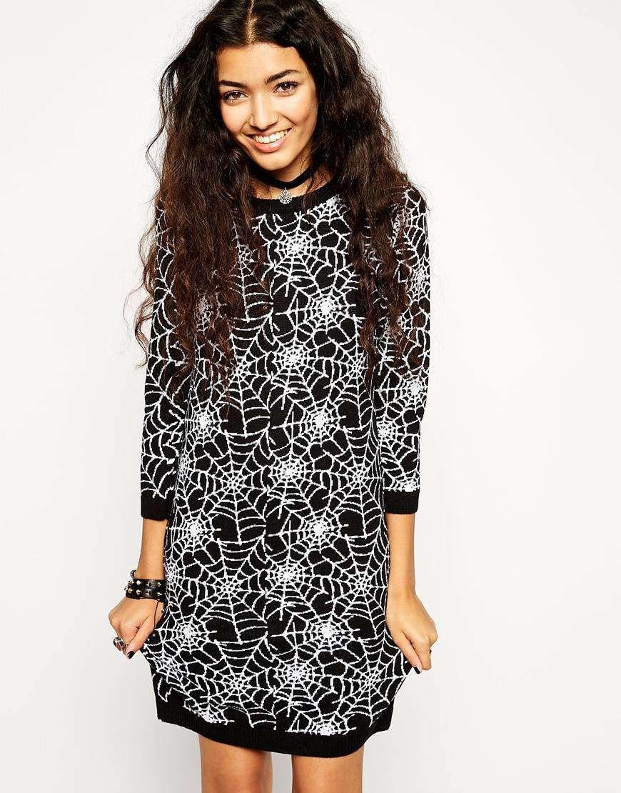 ASOS   Halloween Knit Dress with Cobweb Pattern #asos #cobweb #dress #halloween