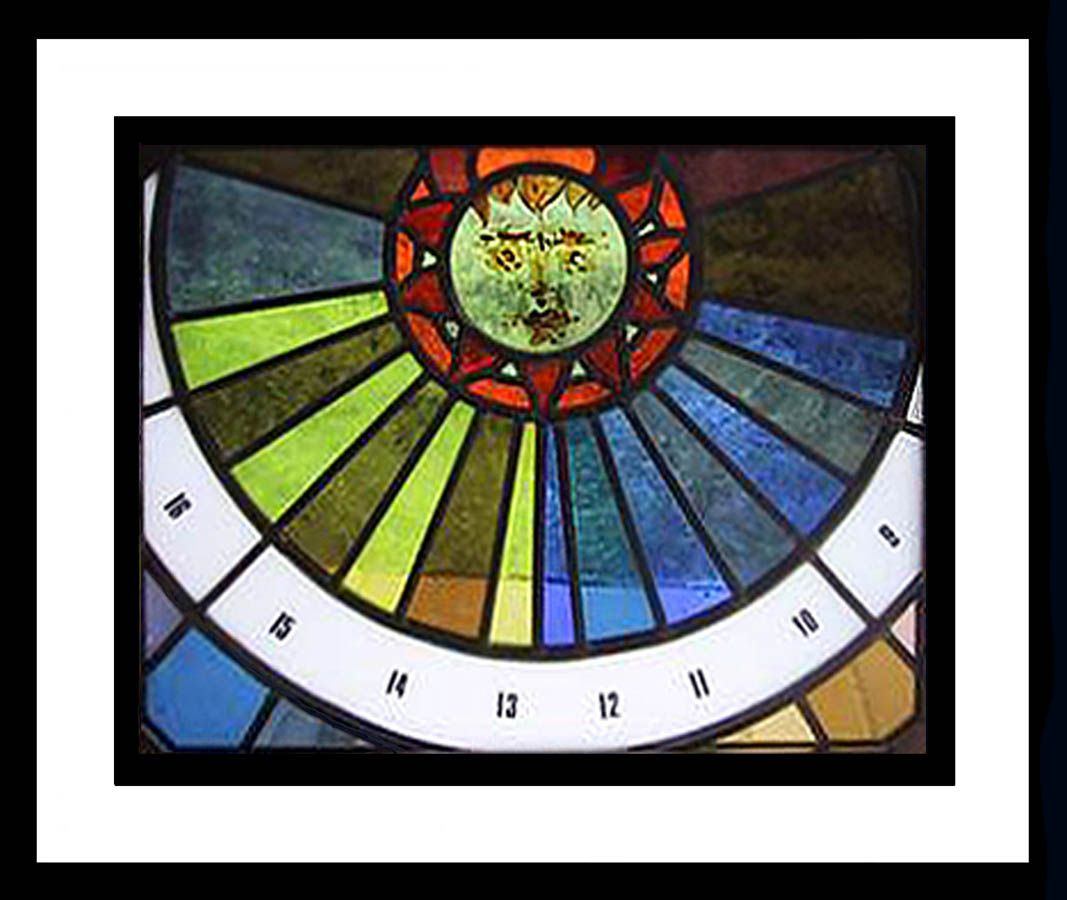 Sun dial made of glass stained glass pinterest for Whitehall tattoo supply