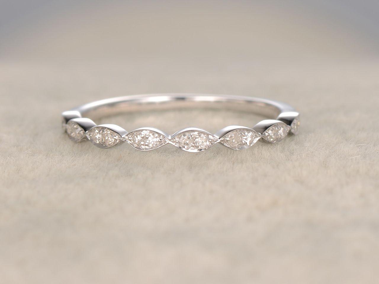 Diamond Wedding Rings For Her 14k White Gold Antique Art Deco Half Eternity Ba Diamond Wedding Bands Diamond Engagement Wedding Ring Pave Diamond Wedding Bands