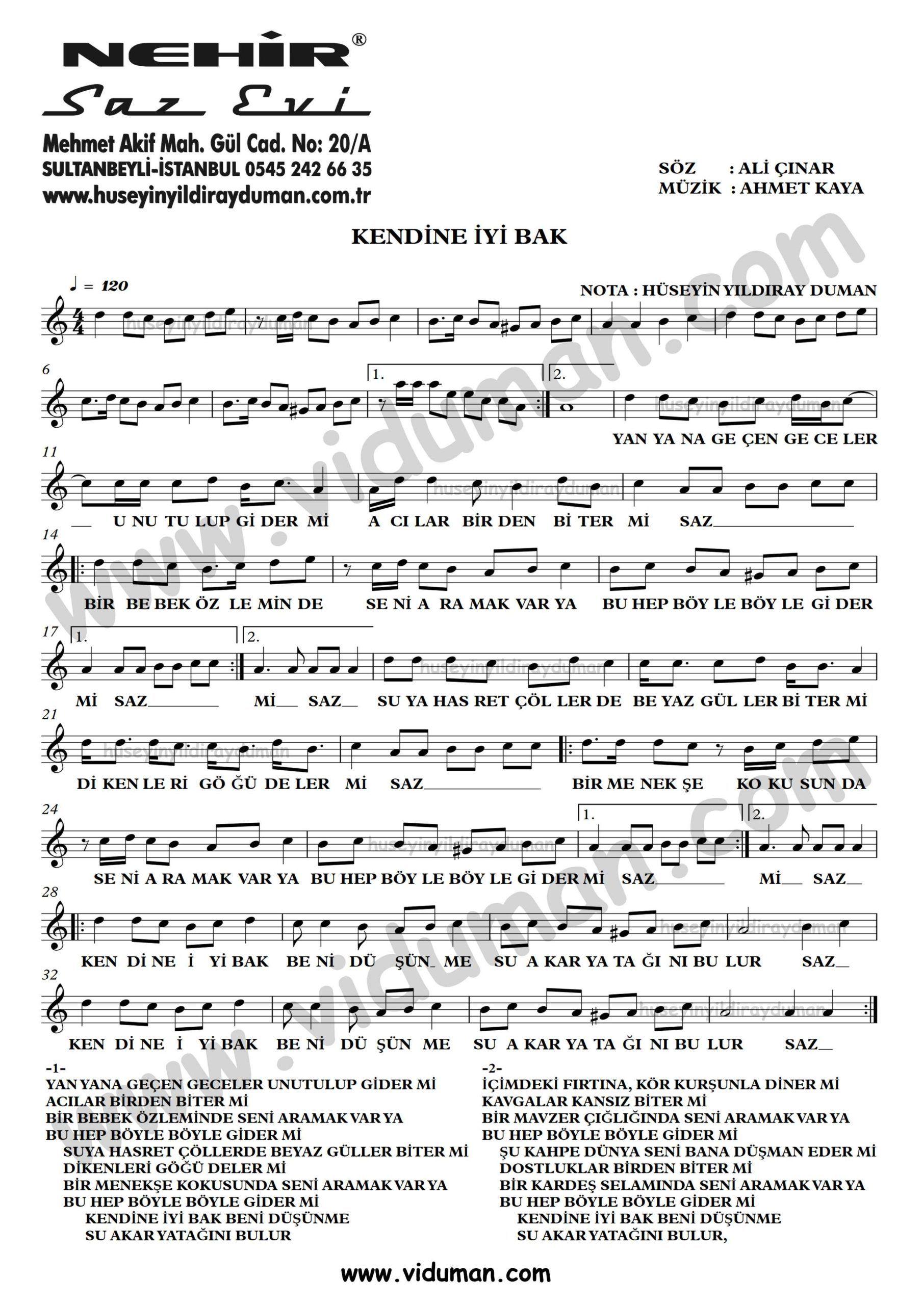 Kendine Iyi Bak Ahmet Kaya Nota Baglama Saz Turku Notalari Muzik Notalari Bakken Muzik