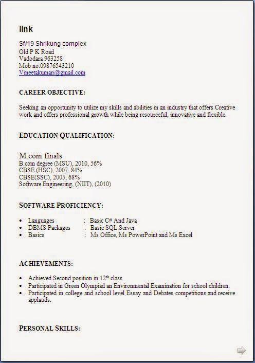 english cv format excellent curriculum vitae resume cv format bcom resume - Resume Format English