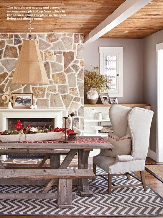 Love This Rustic Table With Benches On The Sides And Wing Chair At Ends Chevron Rug Stone Fireplace