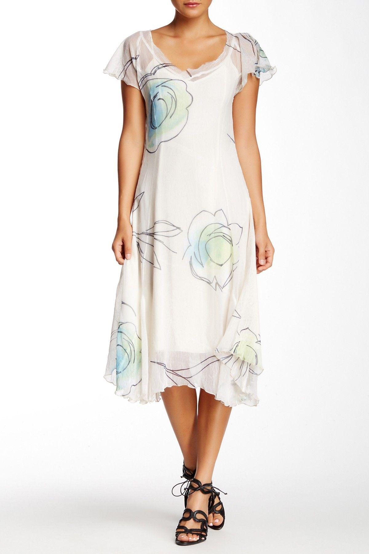 Butterfly Sleeve Chiffon Midi Dress by KOMAROV on @nordstrom_rack
