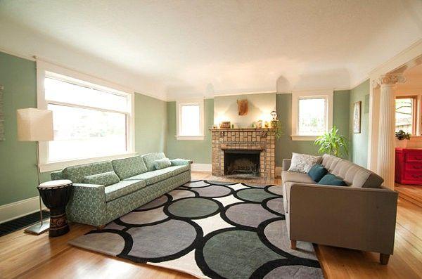 Coloured Interior Design Mint Green Wall Color Sofa Carpet