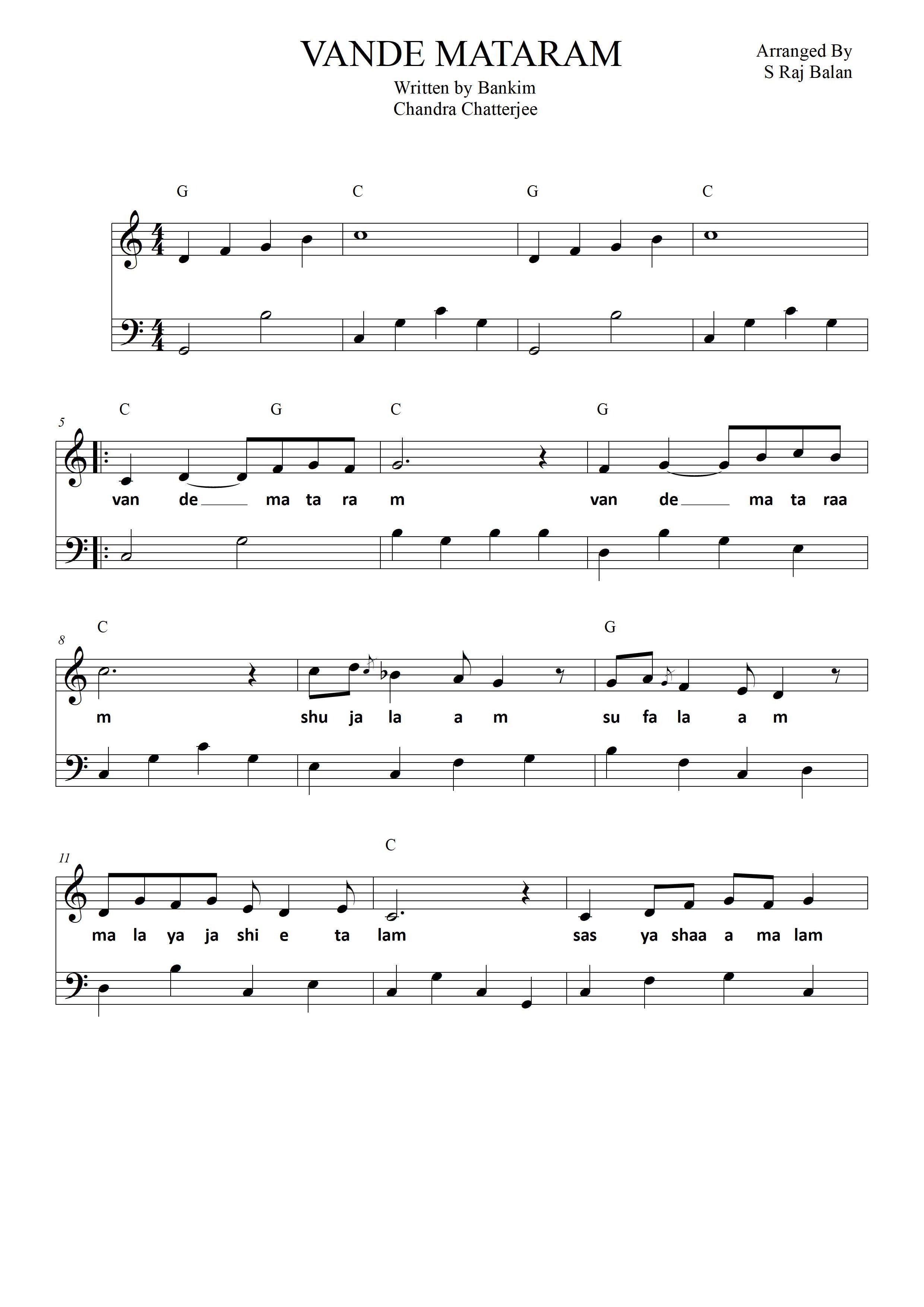 Vande Mataram Piano Sheet For Beginners In